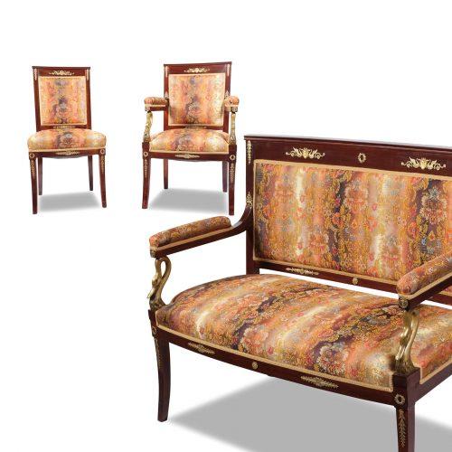 Sitzmöbel Ensemble Frankreich um 1800 Sofa Armlehnstühle Stühle